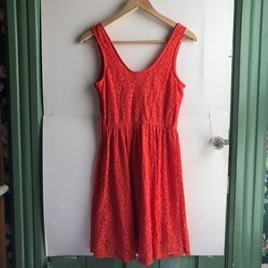 Mossimo Supply Co. Dresses - MOSSIMO Coral Red Floral Lace Sleeveless Dress
